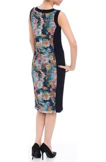Printed Mesh Panel Fitted Midi Dress