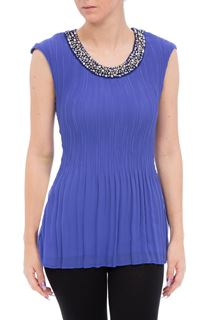 Anna Rose Embellished Sleeveless Pleat Top