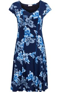 Anna Rose Panelled Floral Short Sleeve Midi Dress