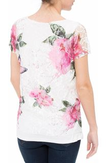 Anna Rose Garden Printed Lace layered Top - Pink Floral