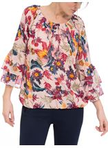 Layered Bell Sleeve Georgette Top