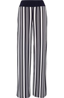 Striped Wide Leg Pull On Trousers - Midnight/Ivory