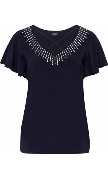 Criss cross detail embellished top