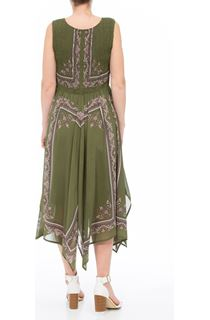 Sleeveless Printed Maxi Dress - Green