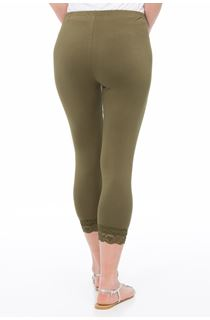 Cropped Lace Trimmed Leggings - Green
