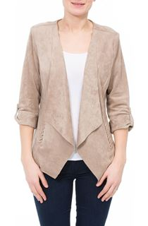 Turn Sleeve Open Suedette Jacket