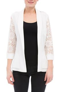 Three Quarter Sleeve Lace Trim Cover Up - Ivory