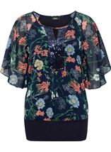 Sequin Embellished Floral Chiffon Layer Top