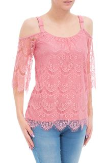 Cold Shoulder Three Quarter Lace Top - Blush