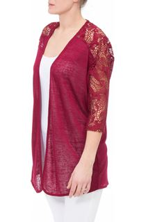 Lace Trim Open Cardigan - Red