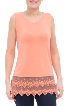 Lace Trimmed Sleeveless Jersey Top - Peach