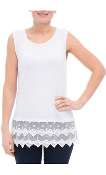 Lace Trimmed Sleeveless Jersey Top - White