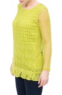 Long Sleeve Crochet Layered Top - Green