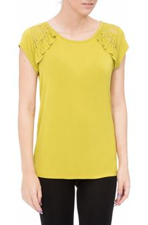 Short Sleeve Lace Trim Jersey Top - Green