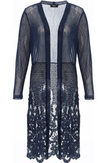 Longline Lace Border Open Cover Up - Midnight