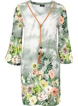 Garden Printed Bell Sleeve Tunic