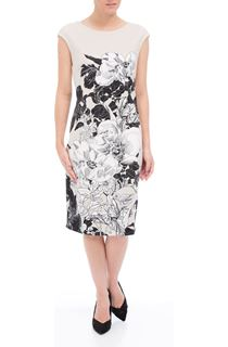 Floral Print Sleeveless Midi Scuba Dress
