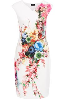 Placement Floral Print Midi Scuba Dress