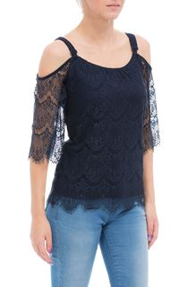 Cold Shoulder Three Quarter Lace Top - Blue