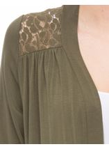 Lace Trim Jersey Cardigan