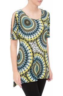 Cold Shoulder Printed Tunic