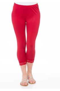 Cropped Lace Trimmed Leggings - Pepper Red