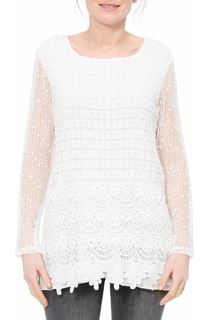 Long Sleeve Crochet Layered Top - White