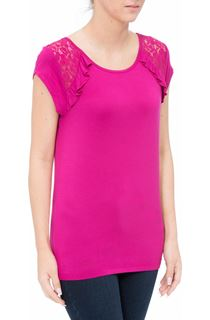 Short Sleeve Lace Trim Jersey Top - Hot Pink