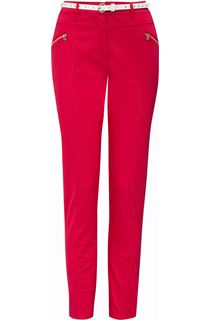 Belted Slimline Stretch Trousers - Pepper