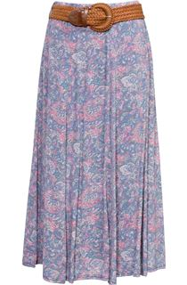 Printed Crinkle Maxi Skirt With Belt