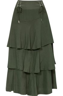 Layered Bias Cut Skirt - Khaki