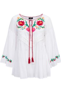 Embroidered Long Bell Sleeve Top - White