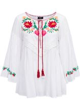 Embroidered Long Bell Sleeve Top