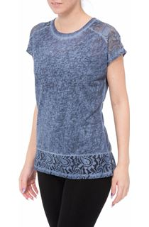 Short Sleeve Lace Trim Knit Top - Dark Blue