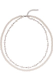 Double Chain Faux Pearl Necklace