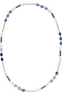 Shimmer Bead Longline Necklace - Silver/Blue
