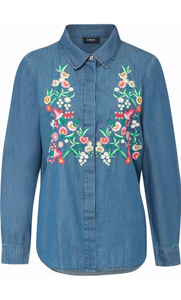 Floral Embroidered Long Sleeve Shirt