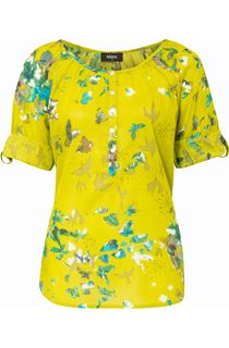 Floral And Bird Printed Cotton Top - Lime