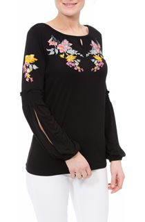 Embroidered Long Split Sleeve Top