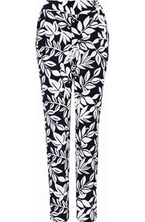 Leaf Printed Tapered Pull On Trousers