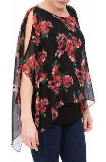 Floral Chiffon Layer And Jersey Top
