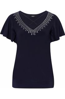 Embellished Short Sleeve Top - Midnight