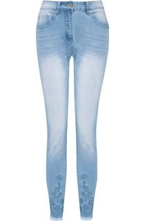 Embroidered Slim Leg Jeans