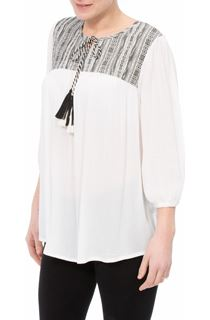 Three Quarter Sleeve Tassel Top