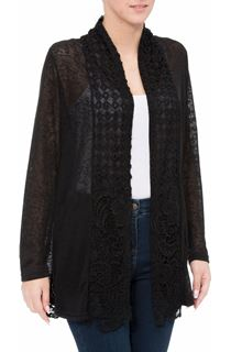 Long Sleeve Lace Trimmed Open Cardigan - Black