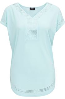Short Sleeve Loose Fitting Diamante Top - Blue