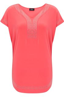 Short Sleeve Loose Fitting Diamante Top - Coral