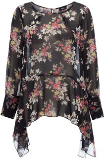 Dipped Hem Floral Print Georgette Top