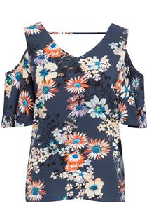 Cold Shoulder Floral Print Top