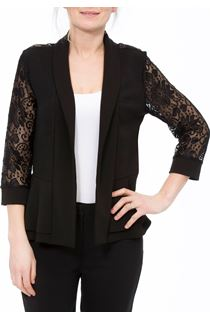 Three Quarter Sleeve Lace Trim Cover Up - Black